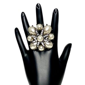 Pearl and Crystal Statement Ring